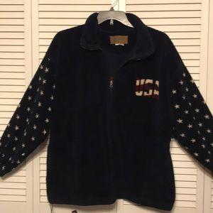 Bear Ridge Navy Fleece Jacket American Flag/ Stars